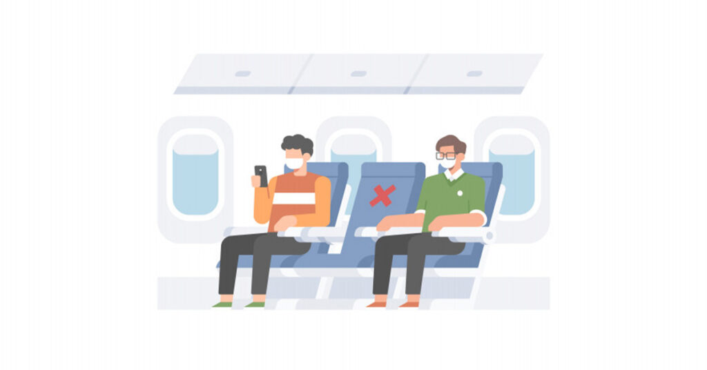 representing empty middle seat on Airplane