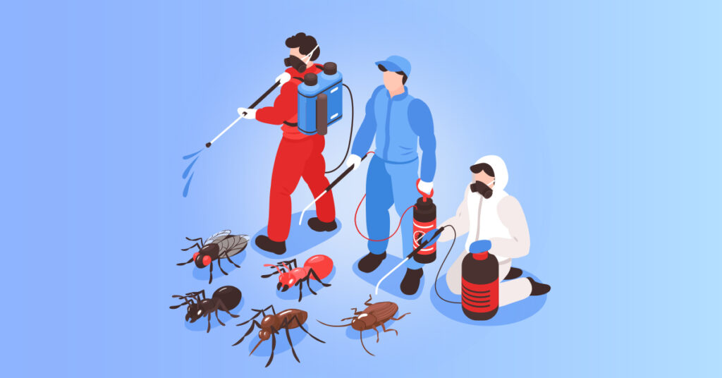 Pest controllers removing pests