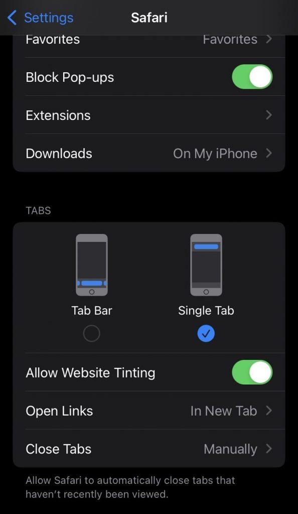 iOS 15 Safari Tab Setting