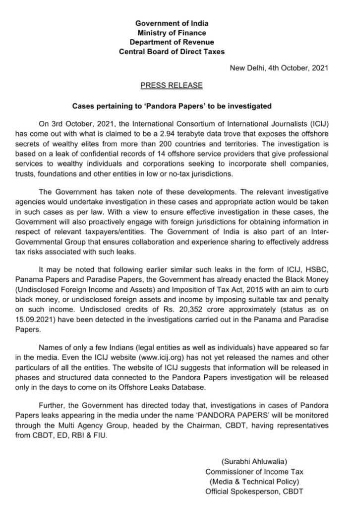 Pandora paper indian government note